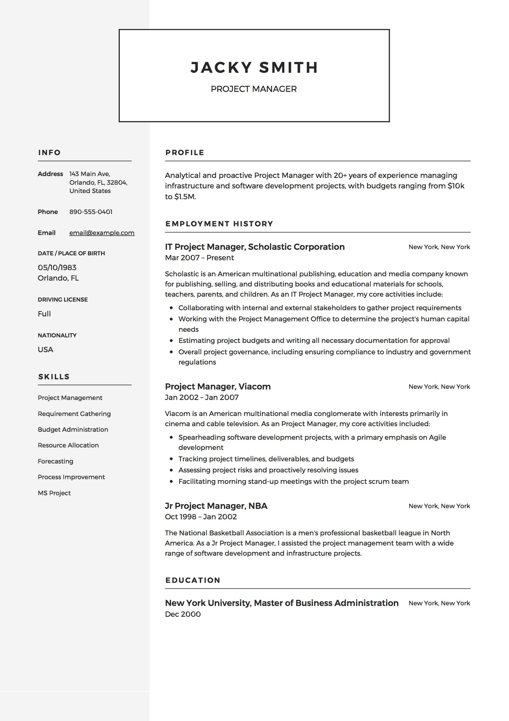 project manager resume profile example