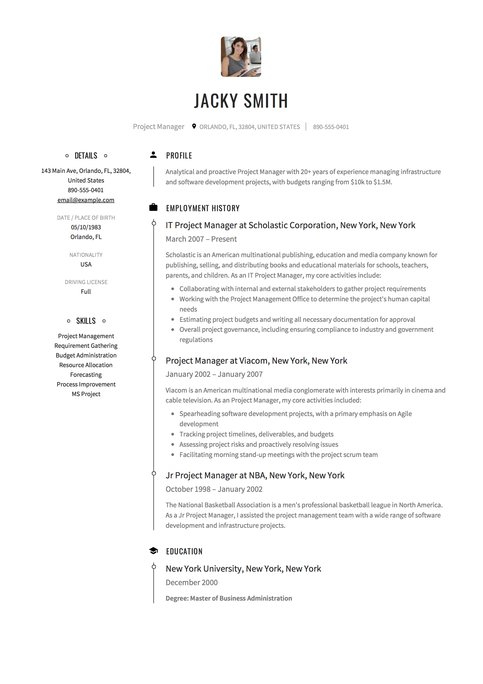 resume objective examples for education program manager