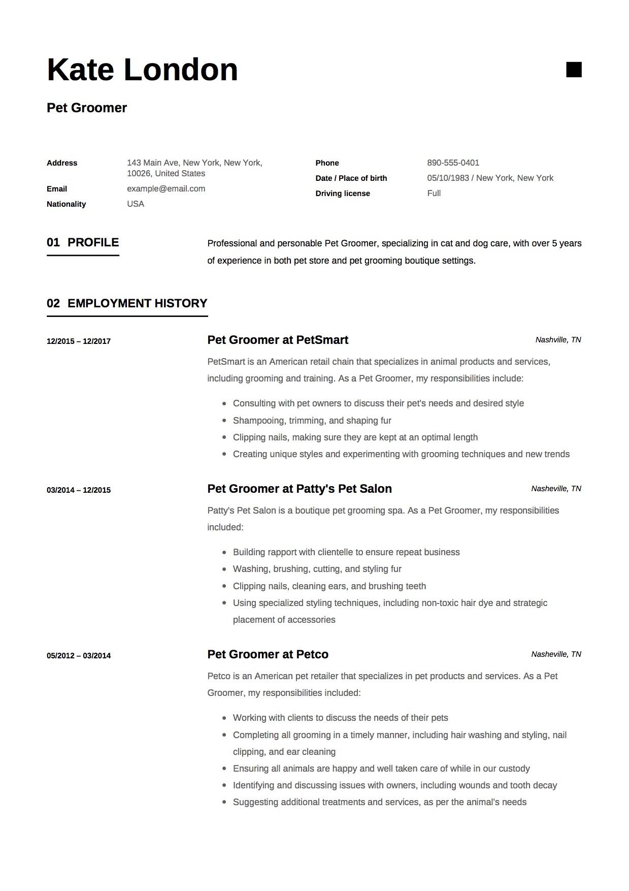 dog resume sample