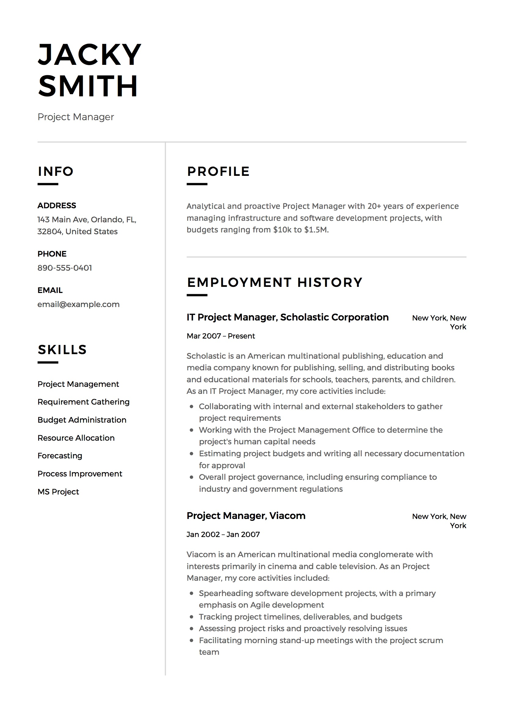 resume projects section samples