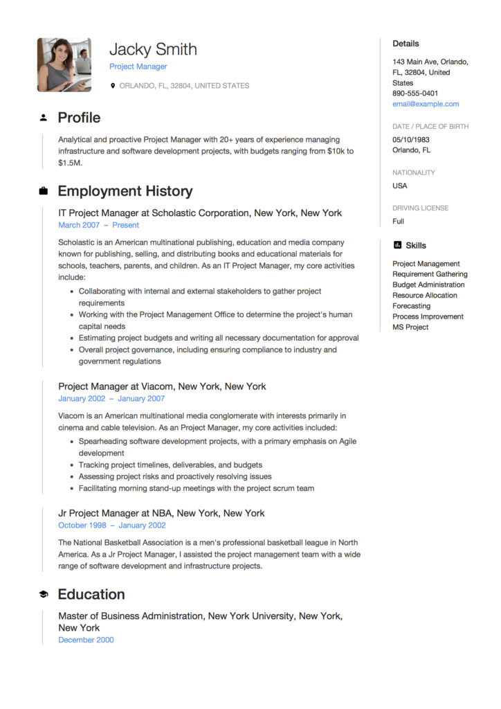 Full Guide Project Manager Resume +12 Samples Word  PDF 2019