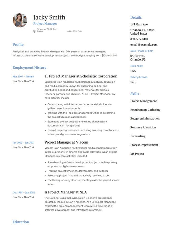 resume format australia