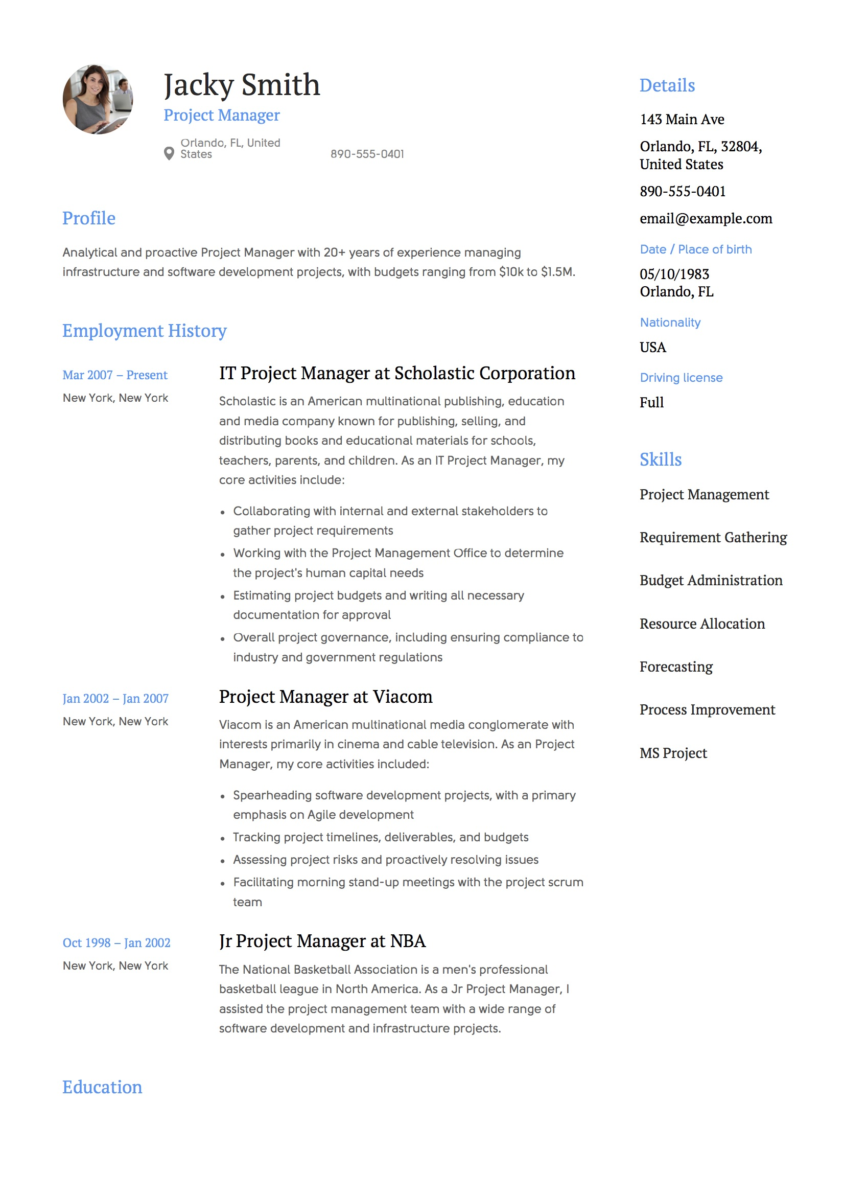 resume templates project manager