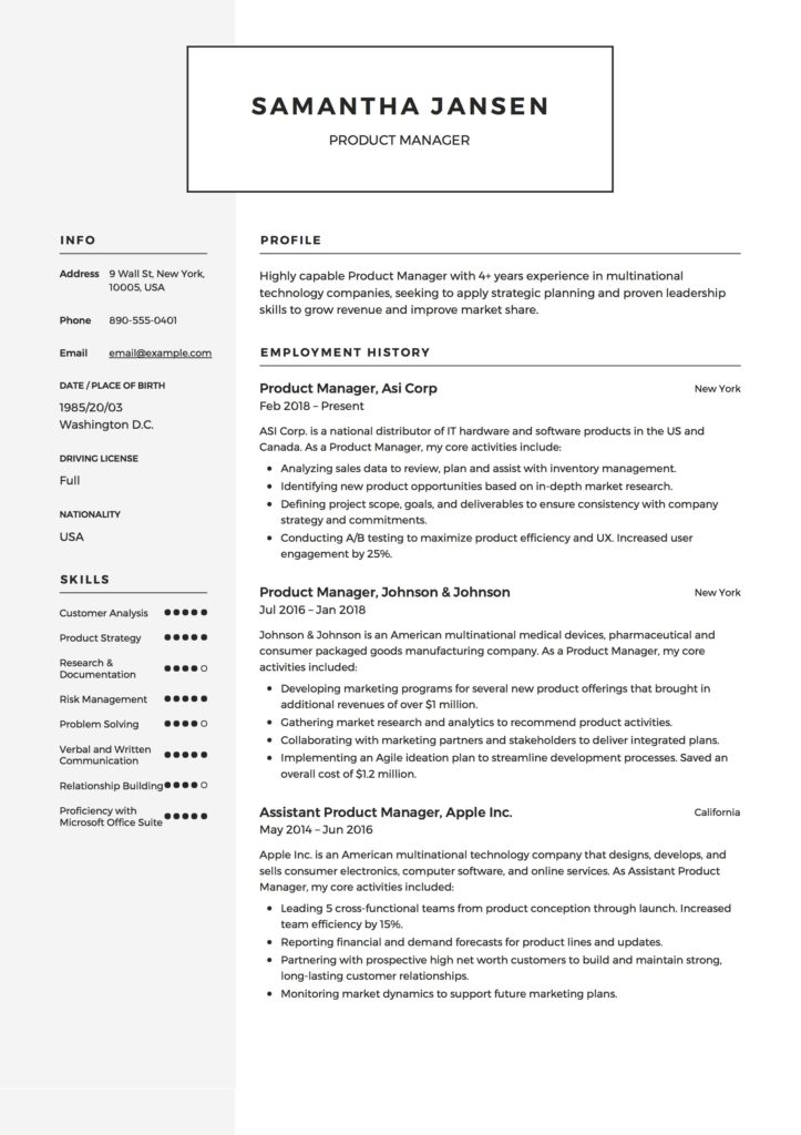 Product Manager Resume Resume  + 12 Samples  PDF 2019