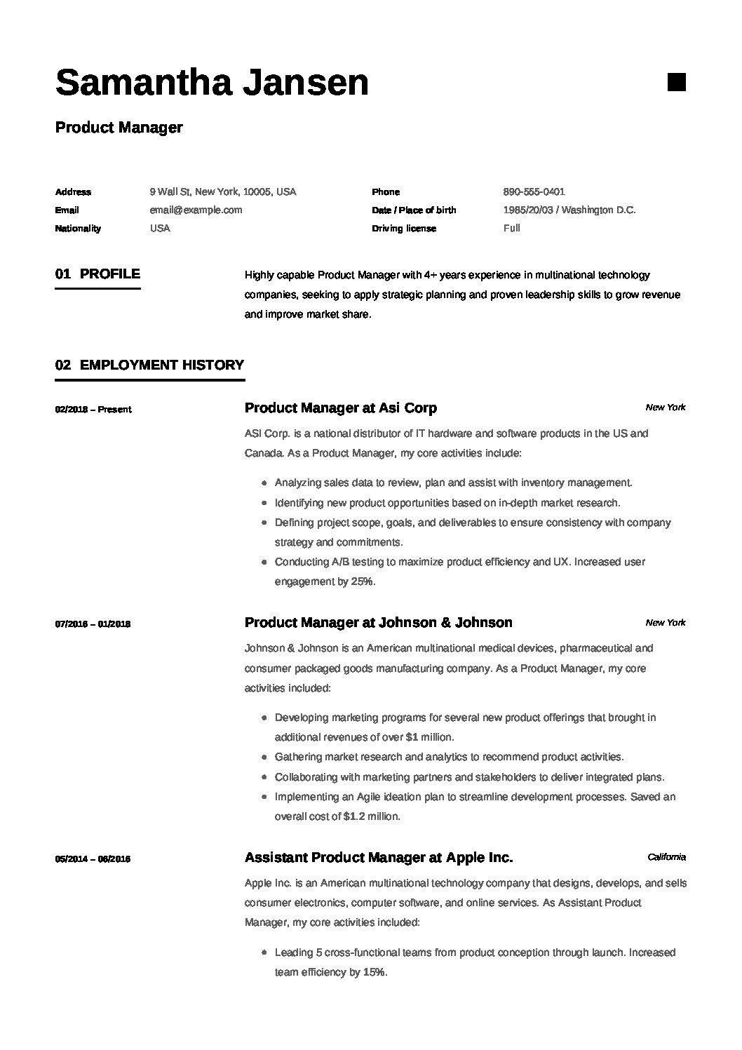 2018 product manager resume examples