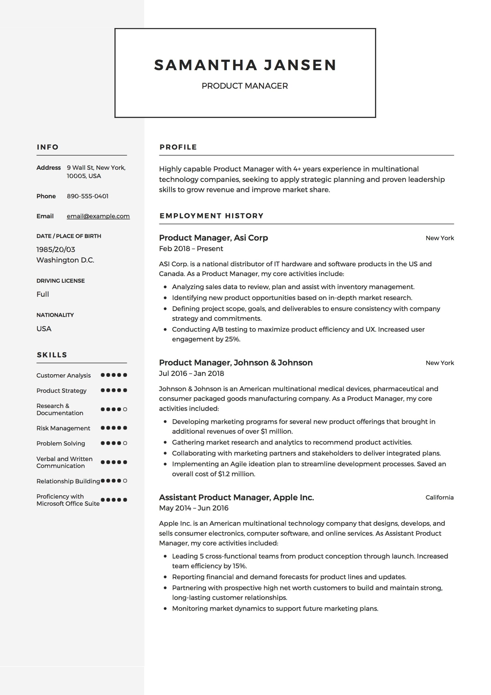 product design manager resume sample