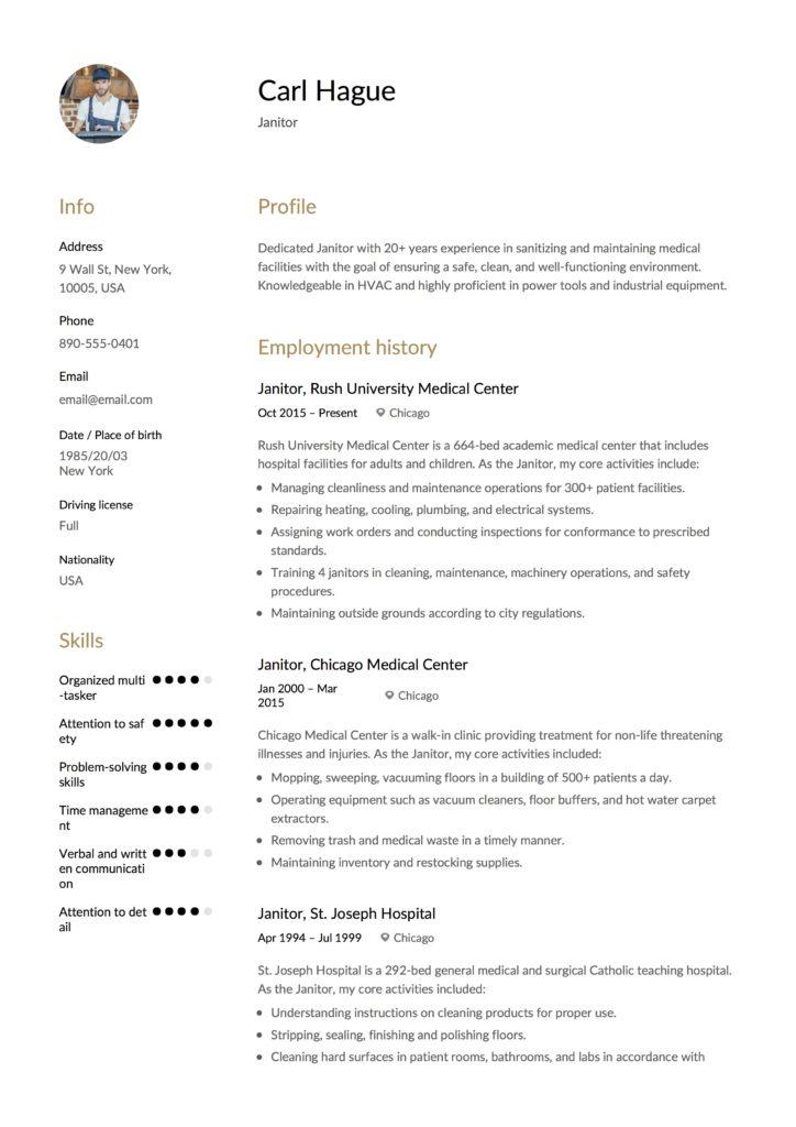 Full Guide Janitor Resume Example  + 12 Samples  PDF 2019