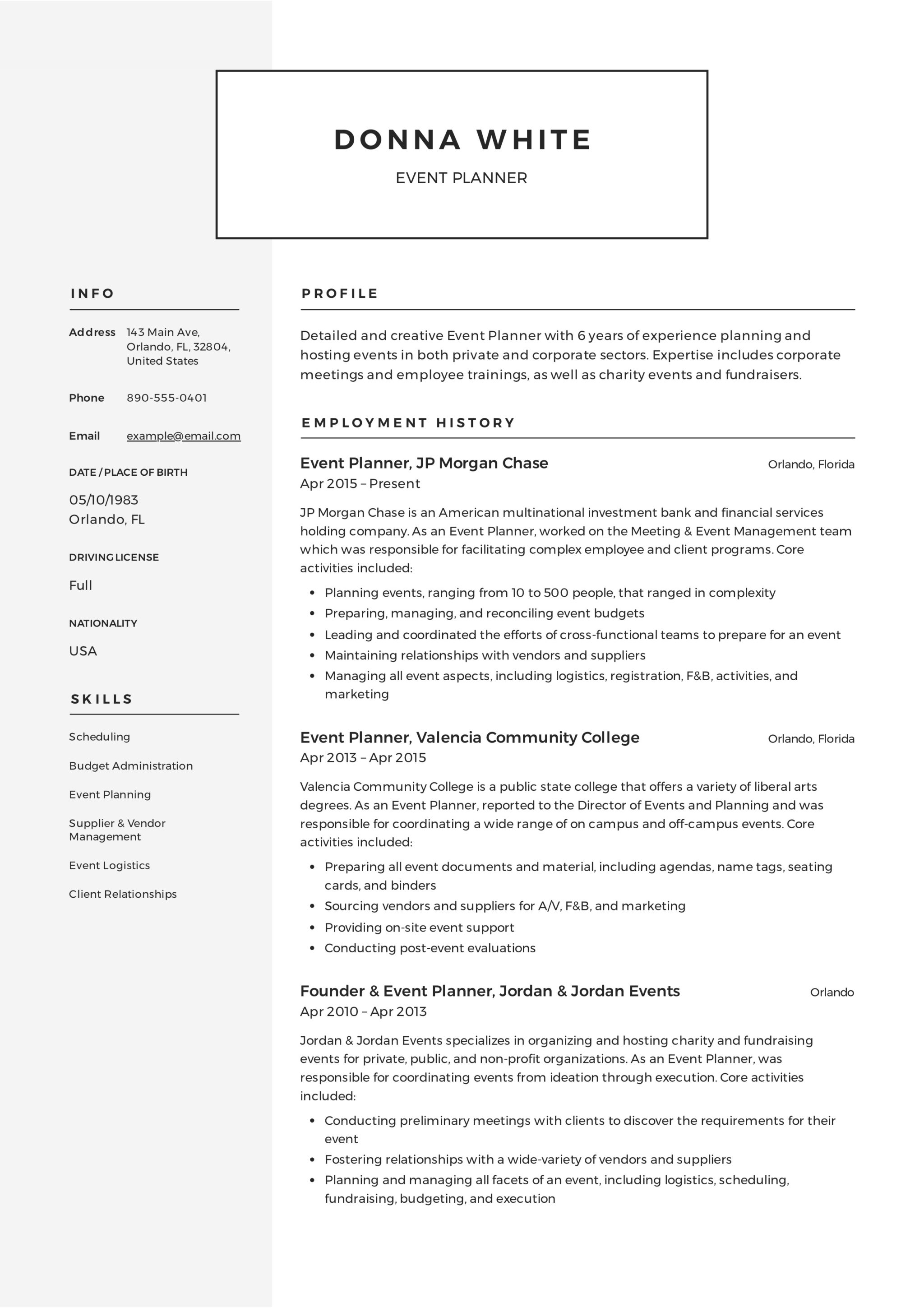 contact information on resume sample