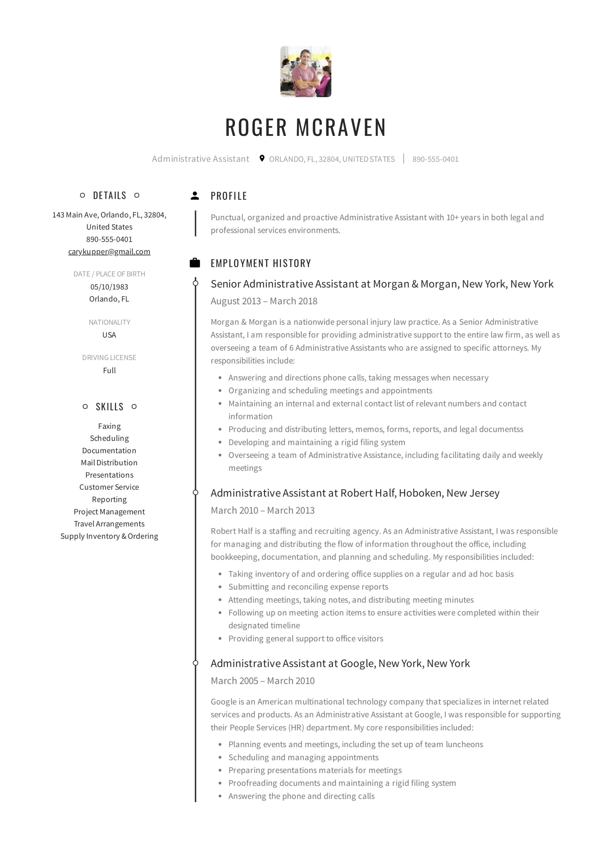 healthcare administrative resume example