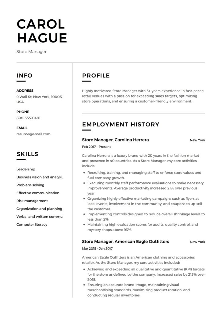 Store Manager Resume Guide  + 12 Resume Samples PDF 2019