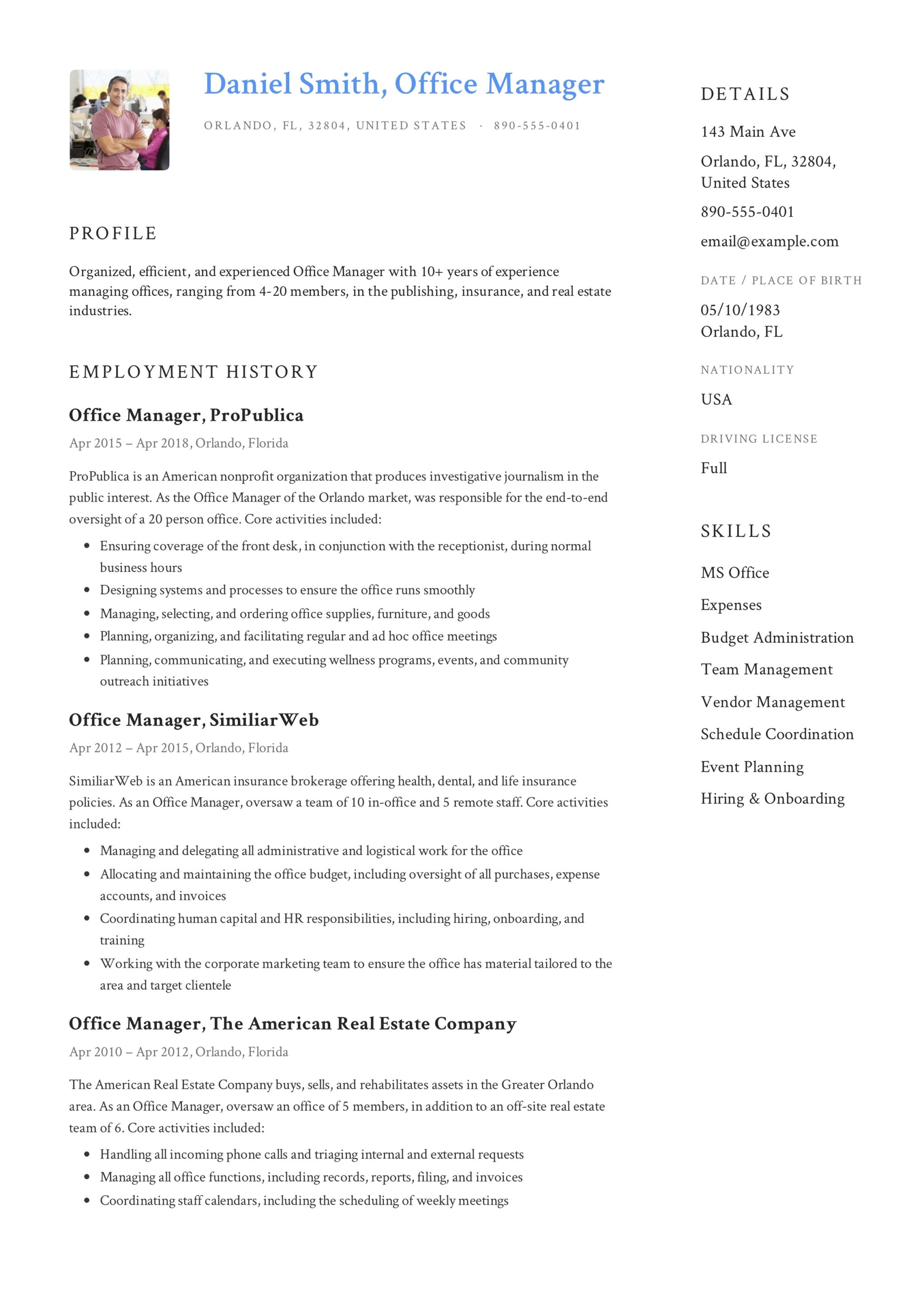 free office manager resume samples