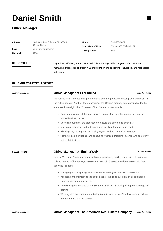 office resume examples skills