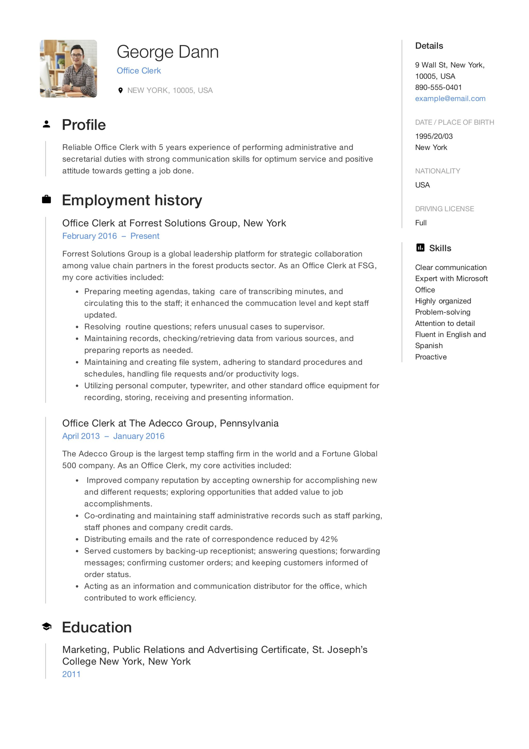 resume examples for office clerk