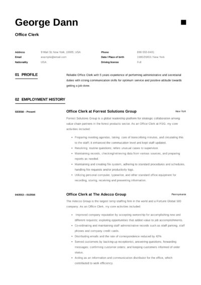 resume sample of office clerk