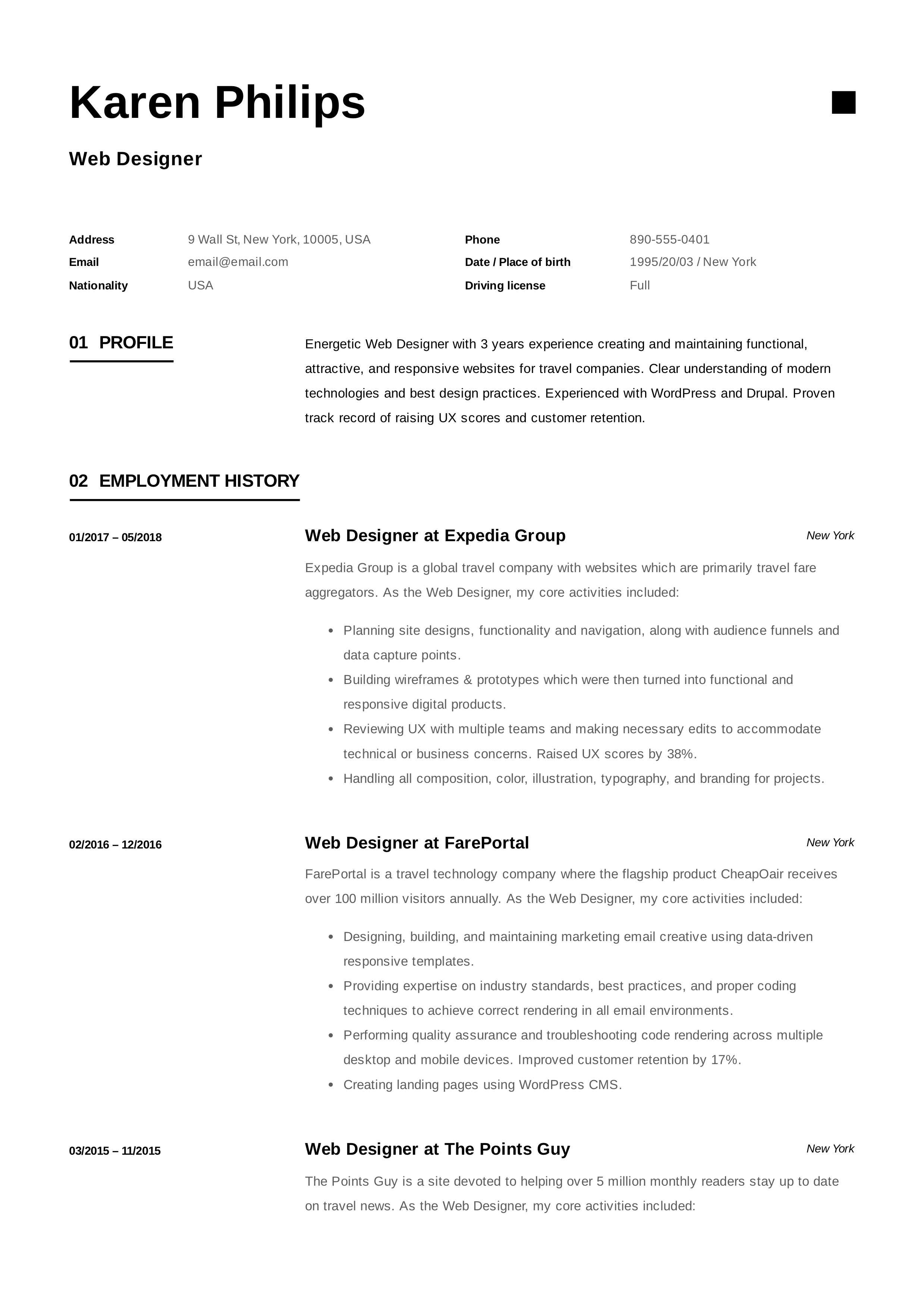 experienced web designer resume samples