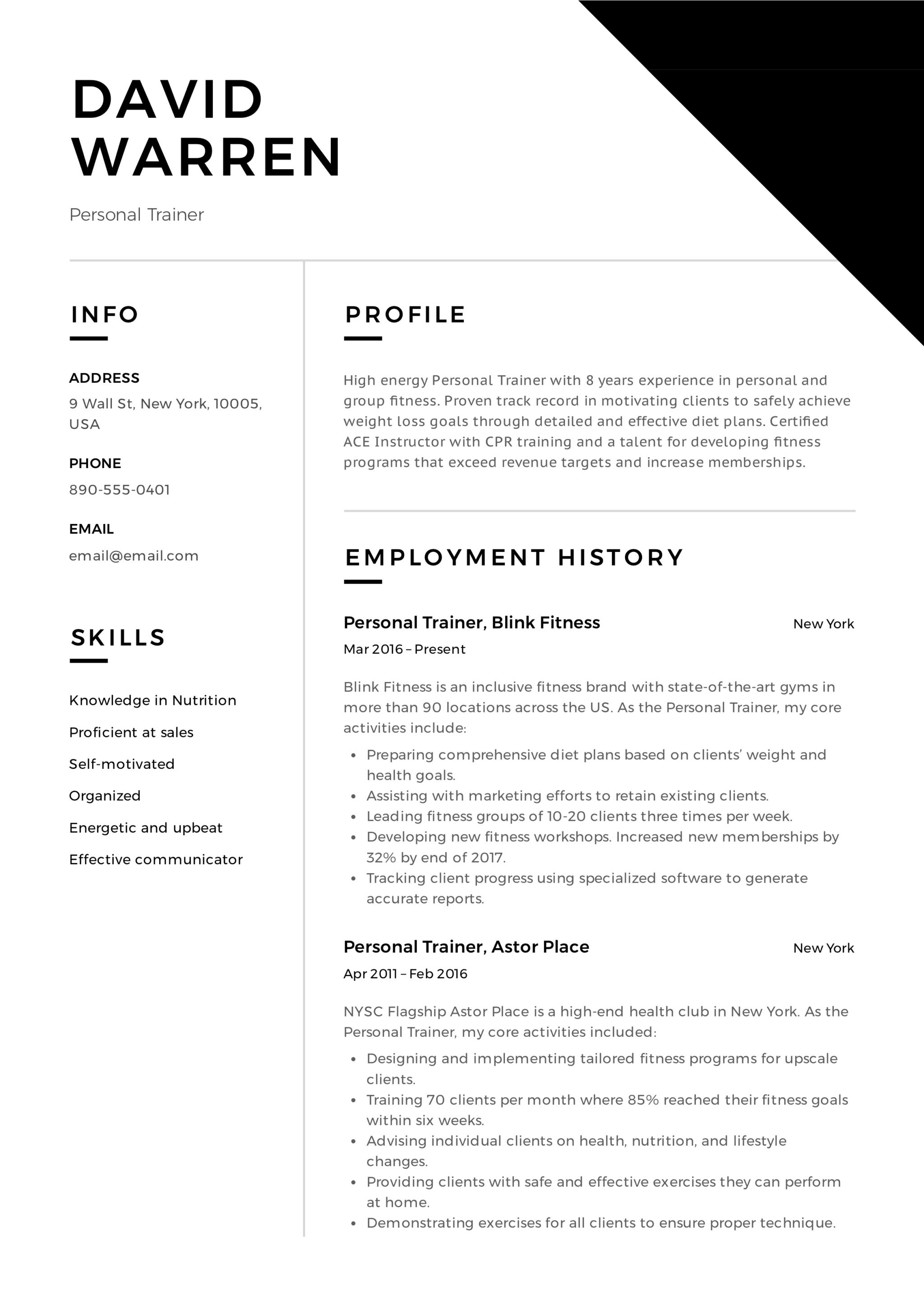 resume examples for trainers