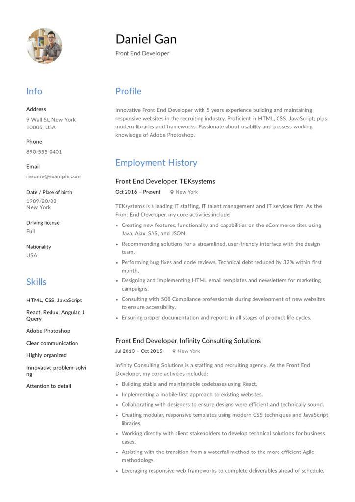 Guide Front End Developer Resume  + 12 Samples  PDF 2019