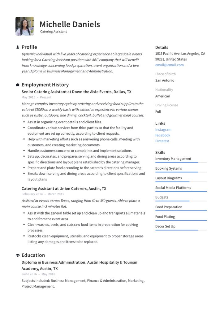 Guide Catering Assistant Resume  + 12 Samples  PDF  Word 2019