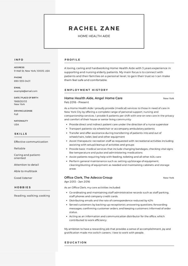 Home Health Aide Resume Sample  Writing Guide +12 Samples PDF