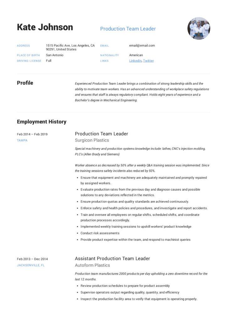 Full Guide Production Team Leader Resume +12 Samples Word  PDF