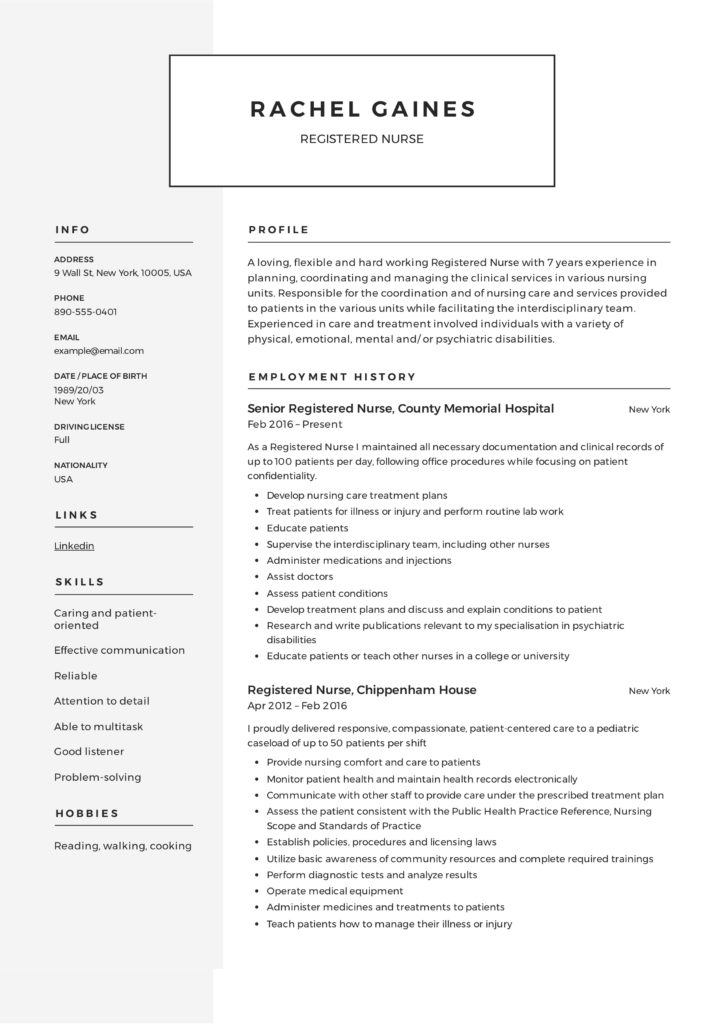 Registered Nurse Resume Sample  Writing Guide +12 Samples PDF