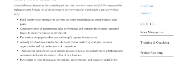 Guide Small Business Sales Manager Resume x12 Sample PDF 2019