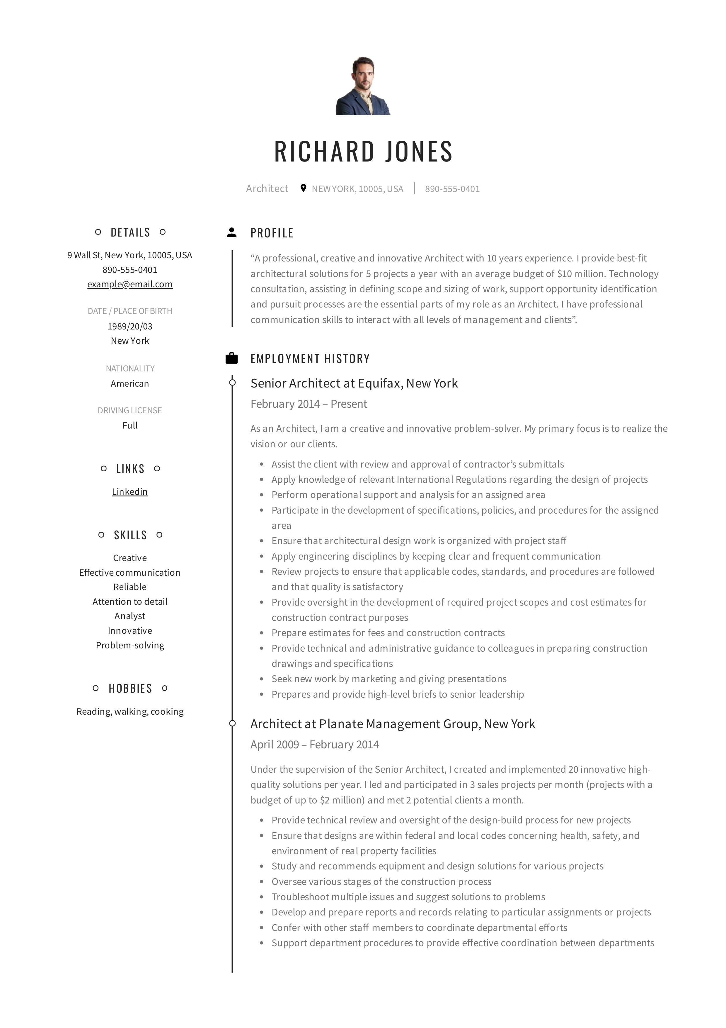 professional architect resume