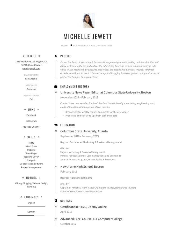Intern Resume  Writing Guide + 12 Samples PDF 2019