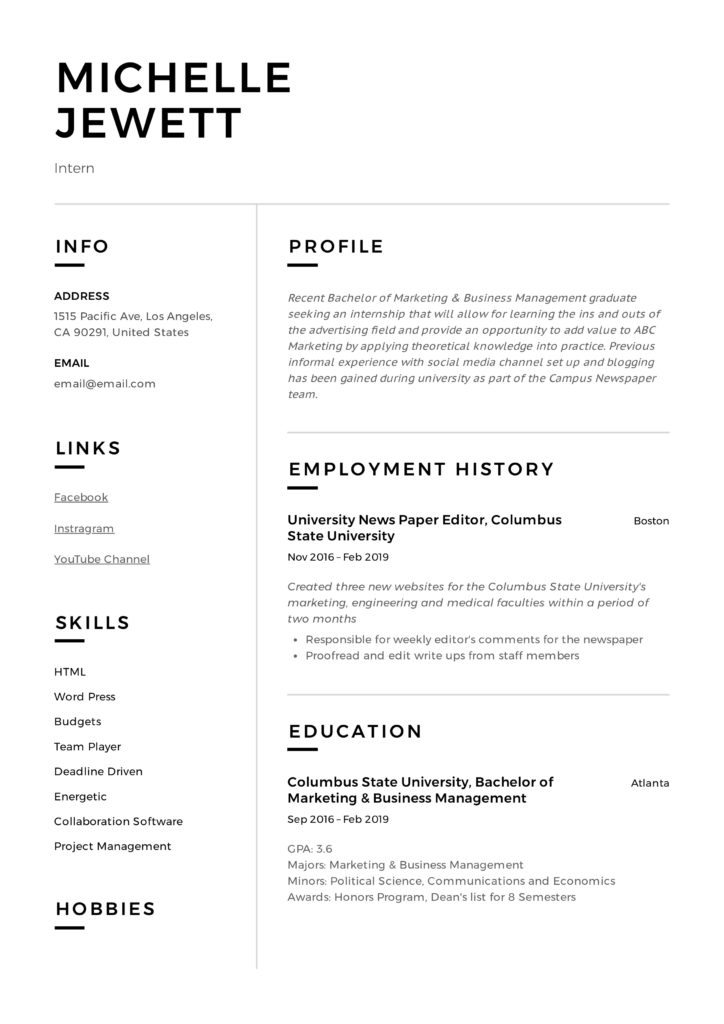 Intern Resume  Writing Guide + 12 Samples PDF 2019