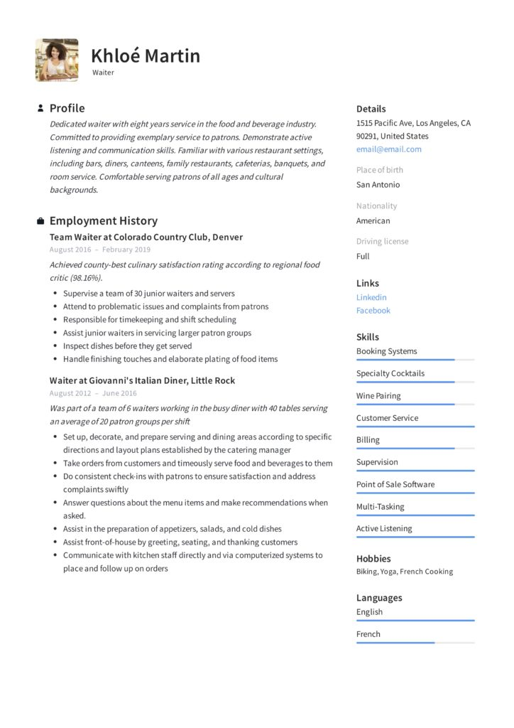 Waiter Resume  Writing Guide + 12 Samples PDF 2019