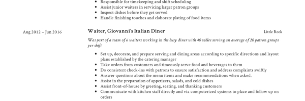 Waiter Resume  Writing Guide + 12 Samples PDF 2019
