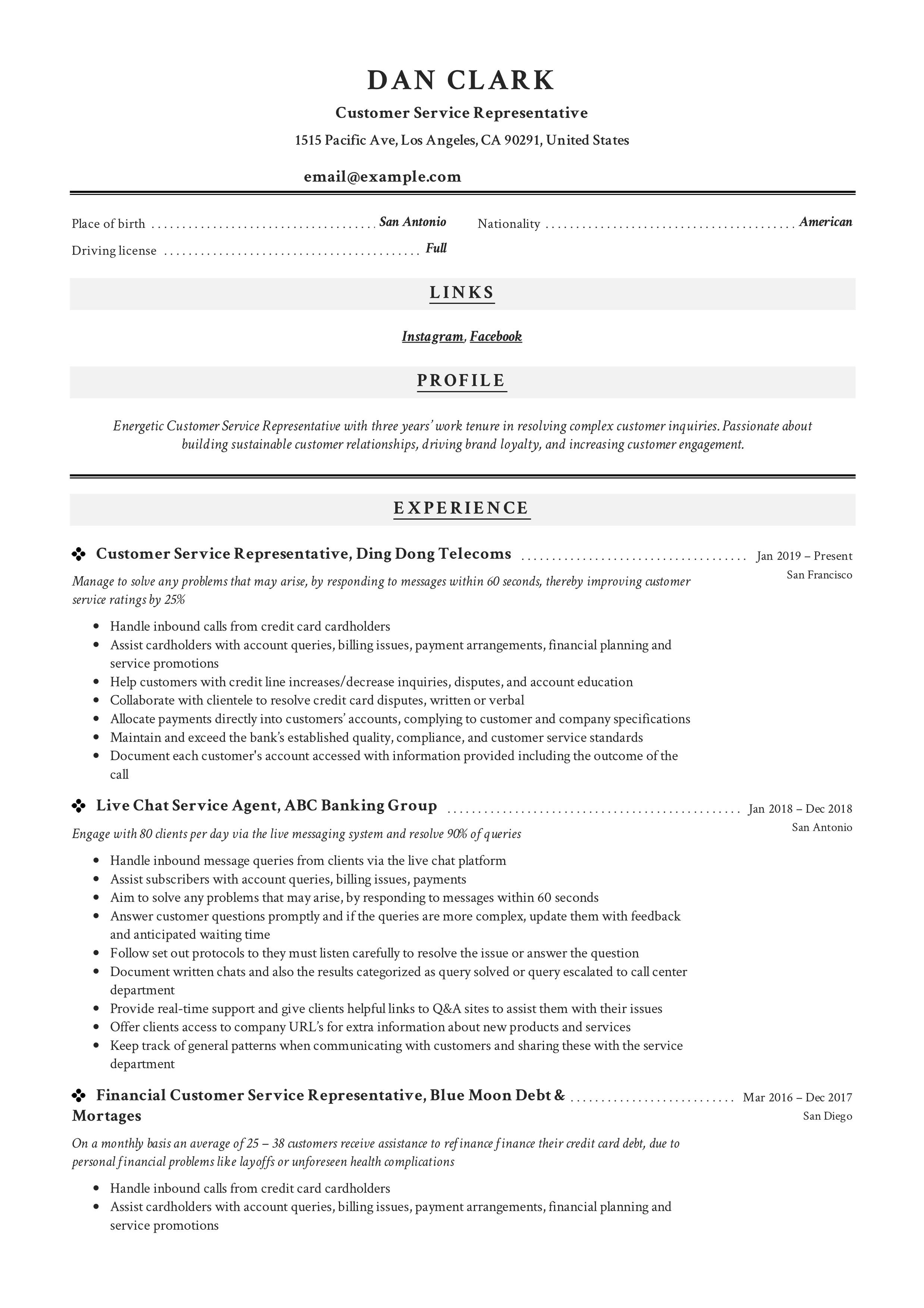 customer service summary for resume