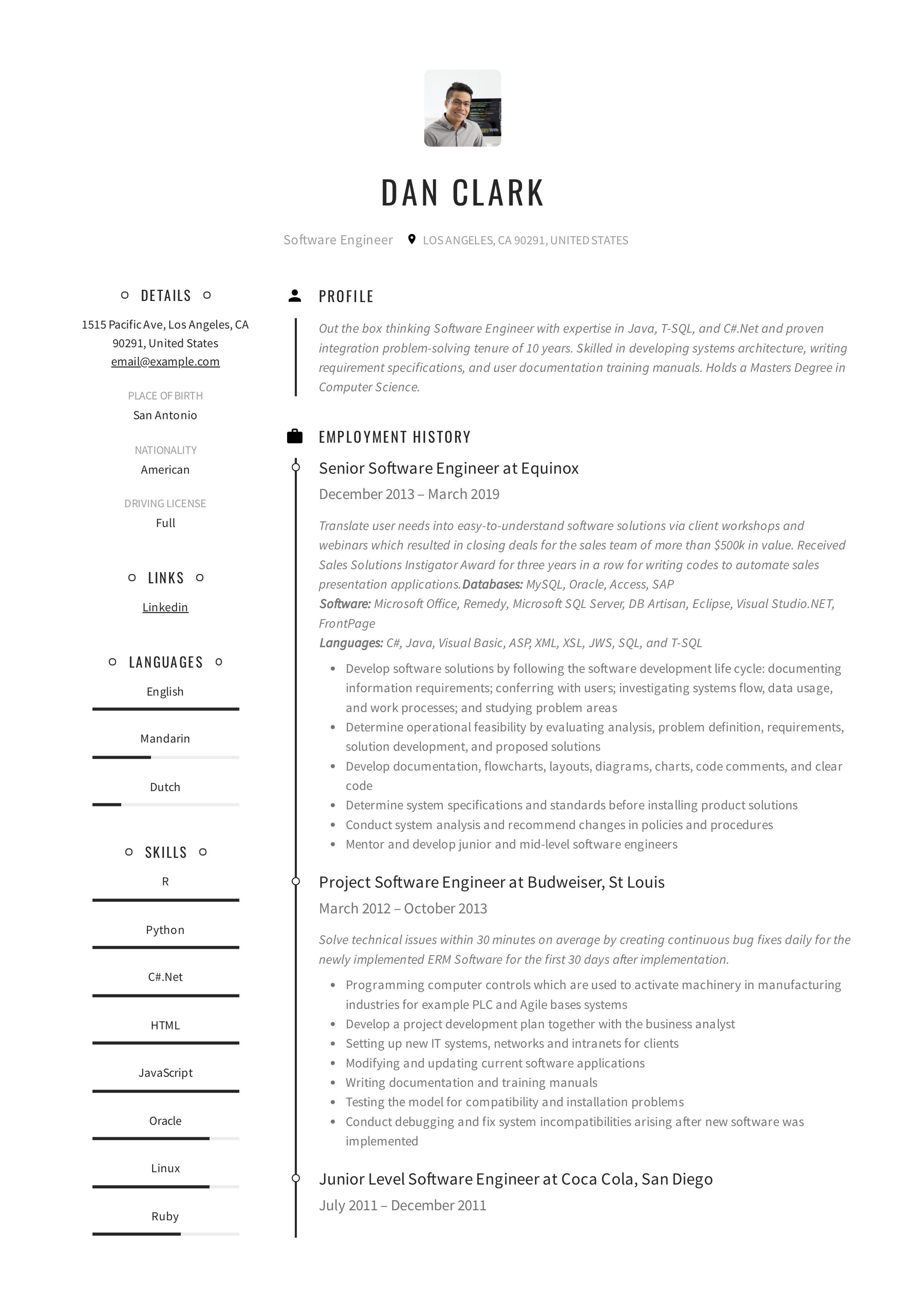 online resume sample pdf