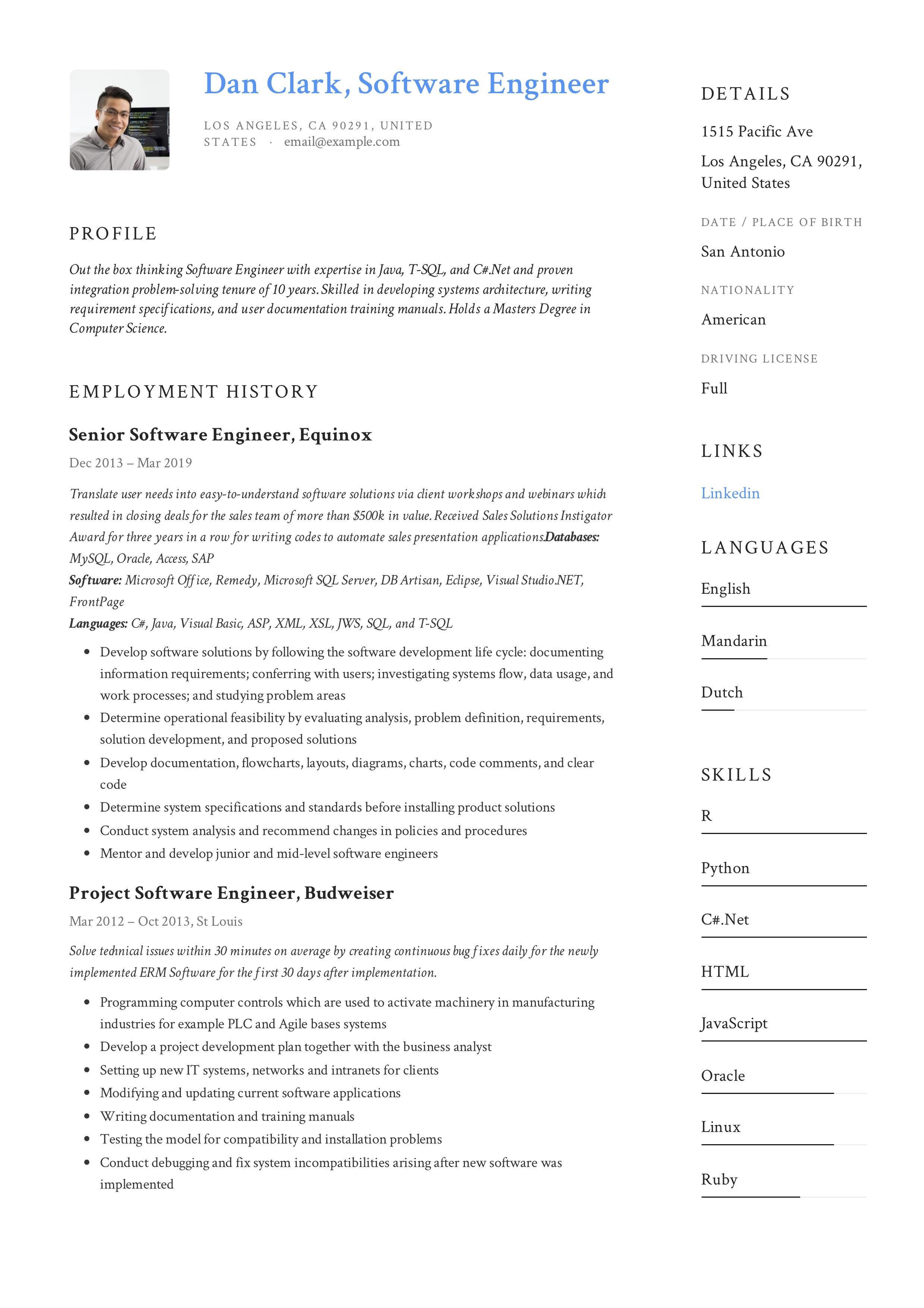 accomplishments resume software engineer