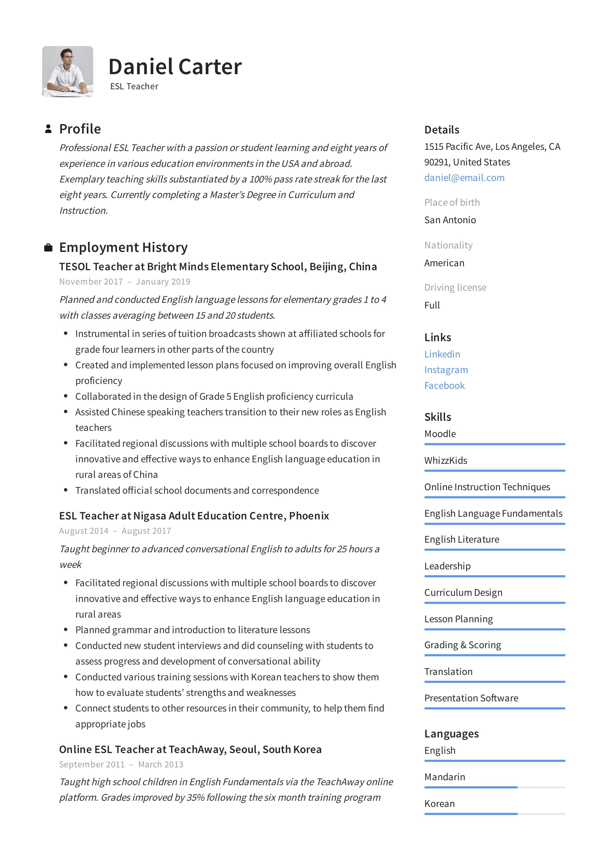 list of skills for resume teacher