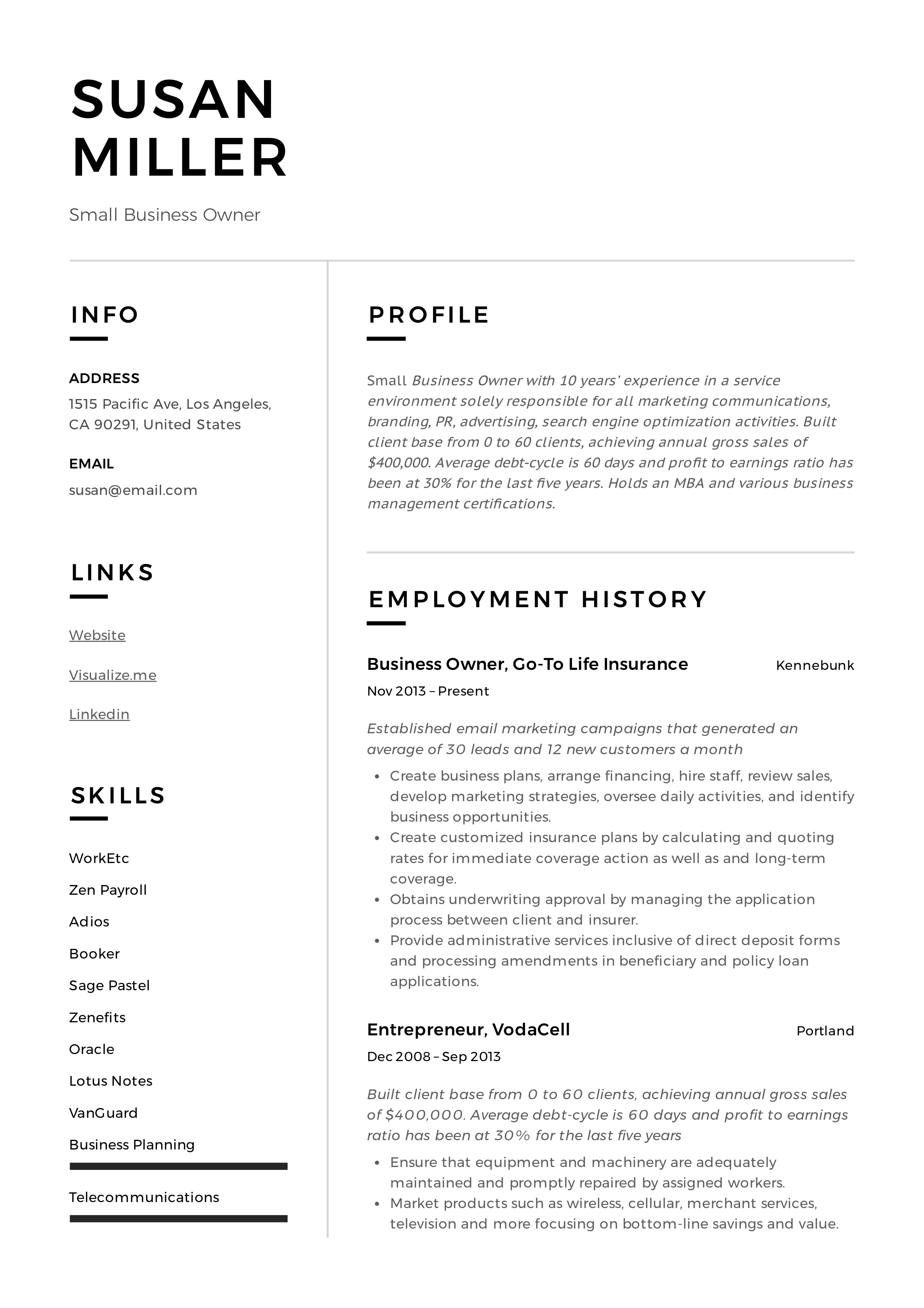 resume examples for a business owner