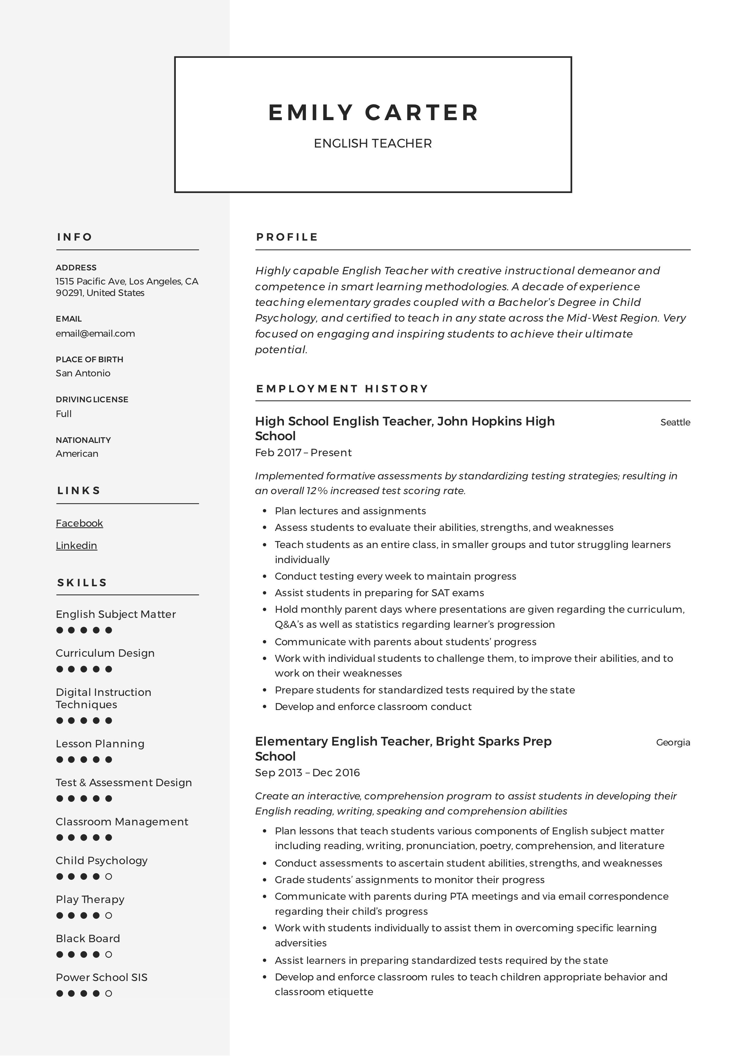resume template modern 2