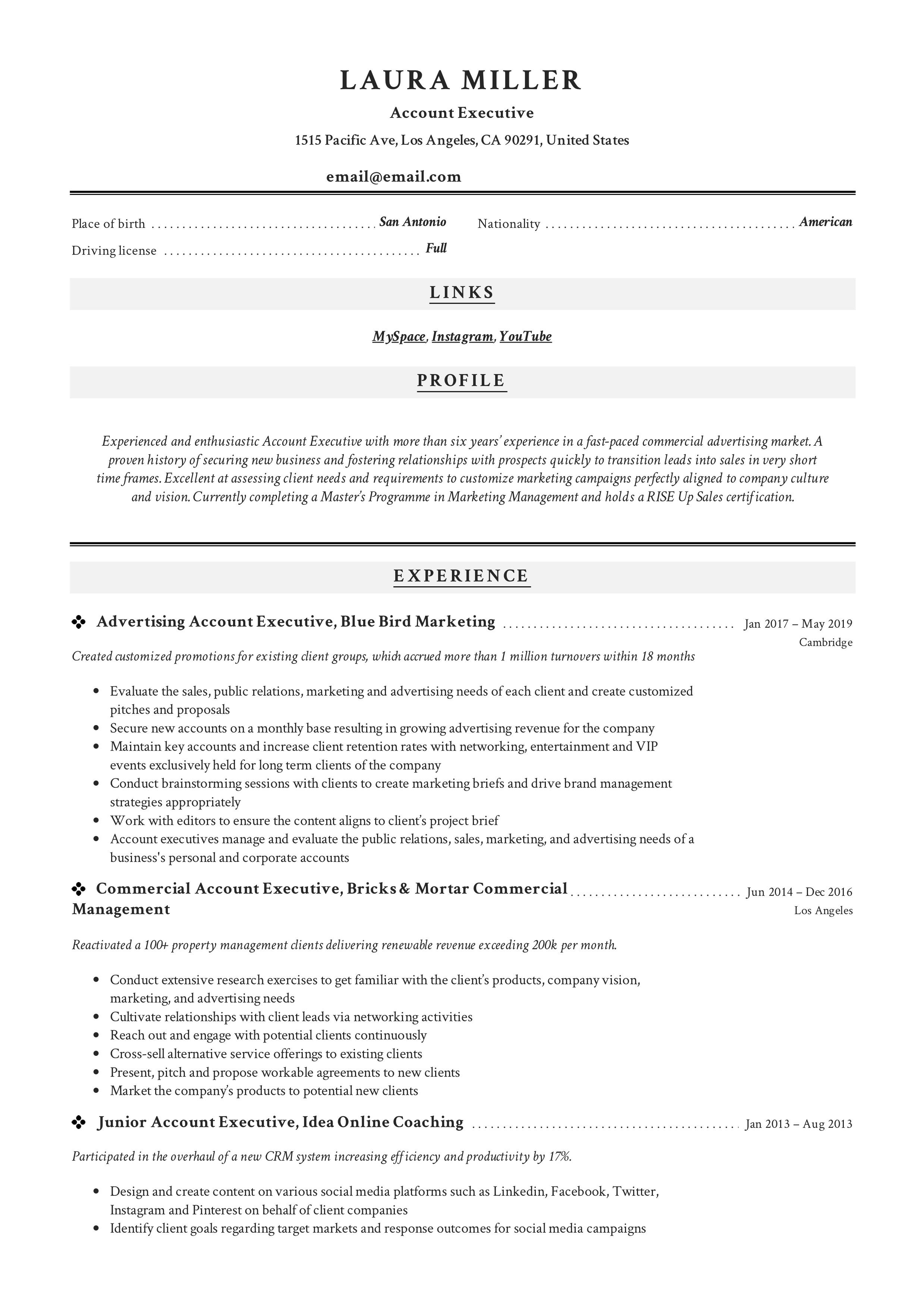 executive classic resume sample
