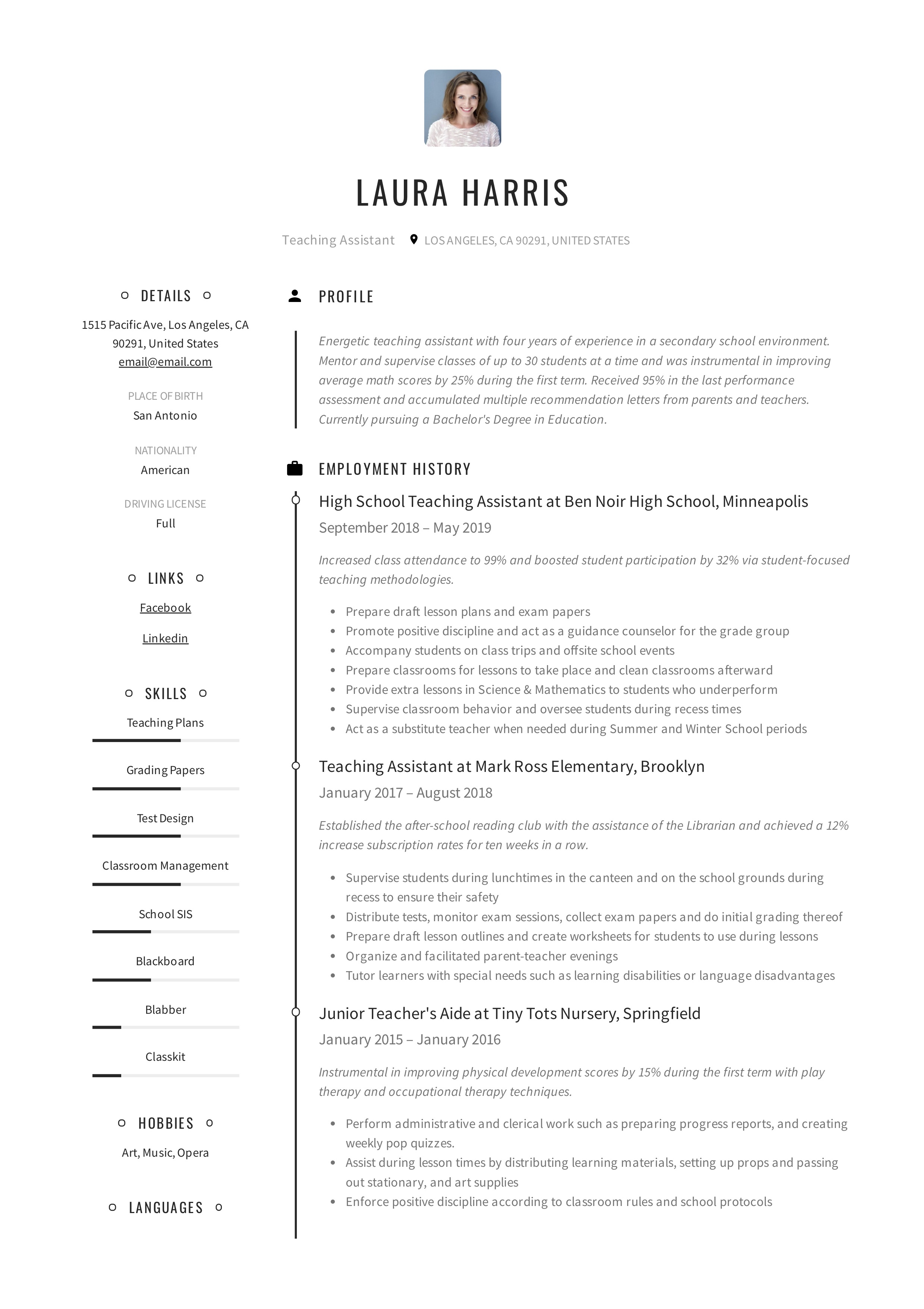 teaching assistant resume examples