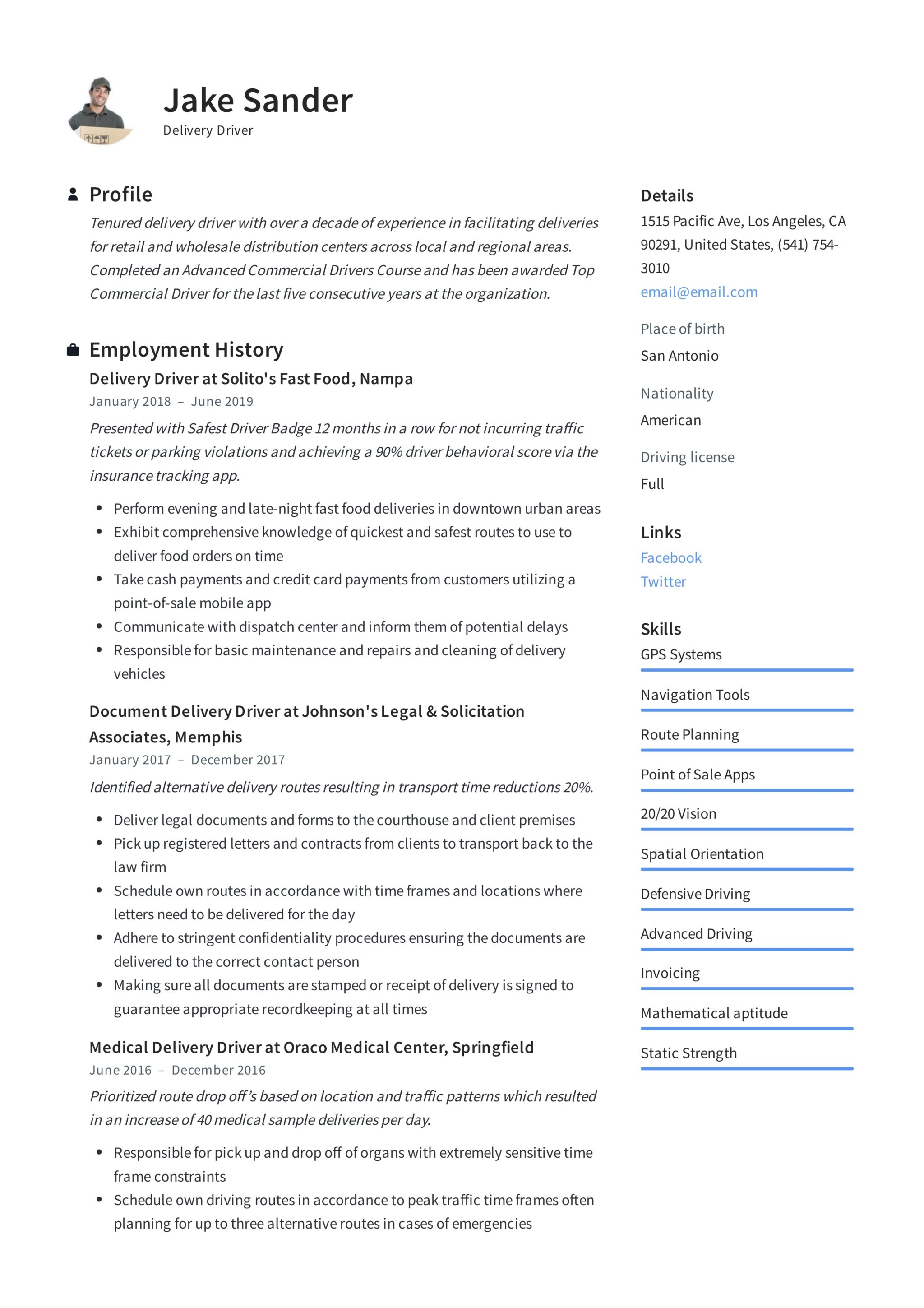 professional driver resume example 2019