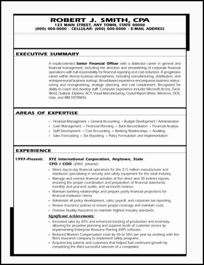 SAMPLE RESUME Financial Executive - Cash Management Officer Sample Resume