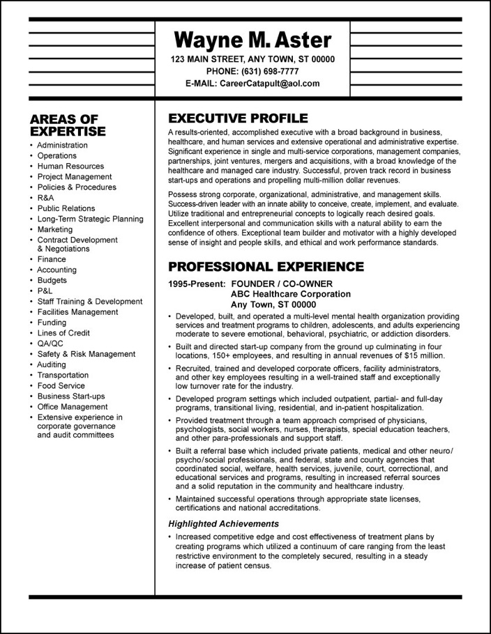 SAMPLE RESUME Healthcare Executive