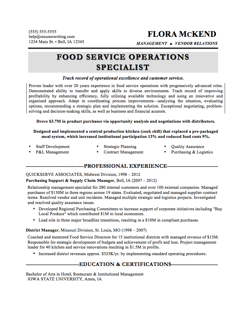 sample resume with military service