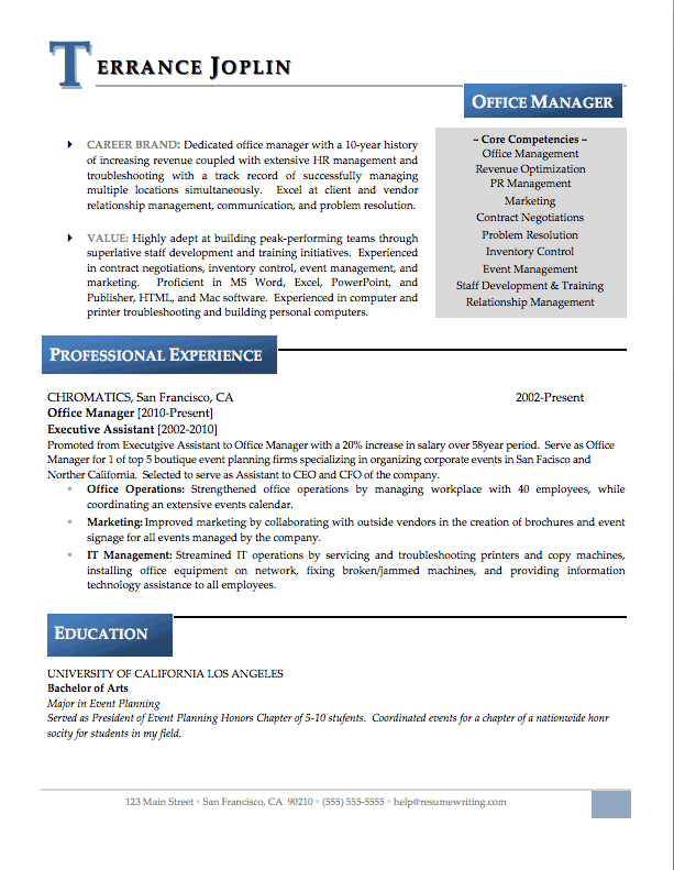 resume profile examples office manager