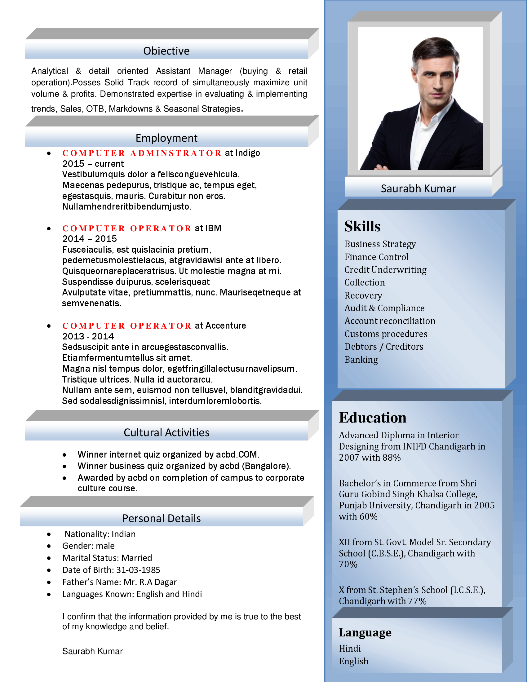 Sample Resume Format For Experienced It Professionals Sample Cv For Freshers Sample Cv Format Ppc Executive Resume Templates Ppc Executive Cv Ppc