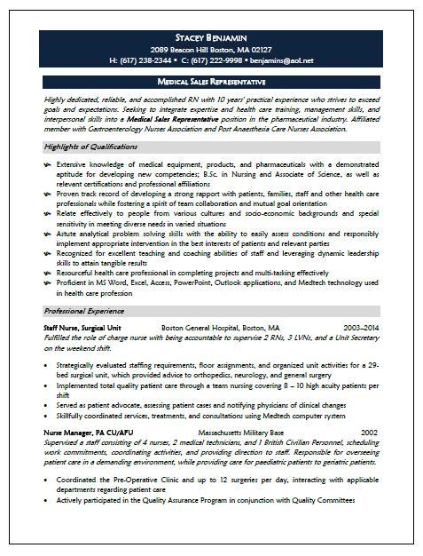 Medical Sales Representative Resume Sample - resume sample for medical representative