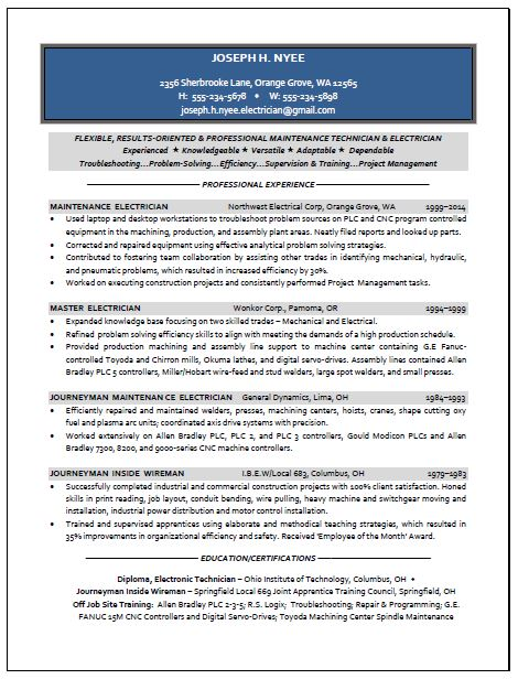 Electrician Sample Resume - journeyman welder sample resume