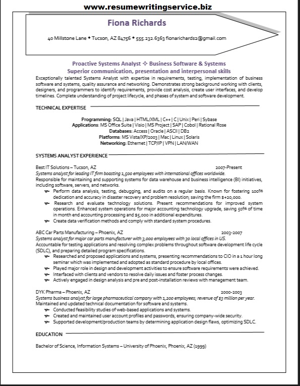 Systems Analyst Resume Sample - sample systems analyst resume