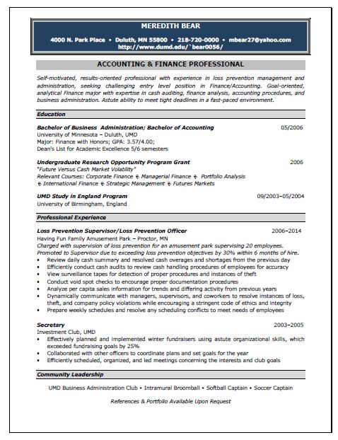 Accounting Position Resume Sample - samples of accounting resumes