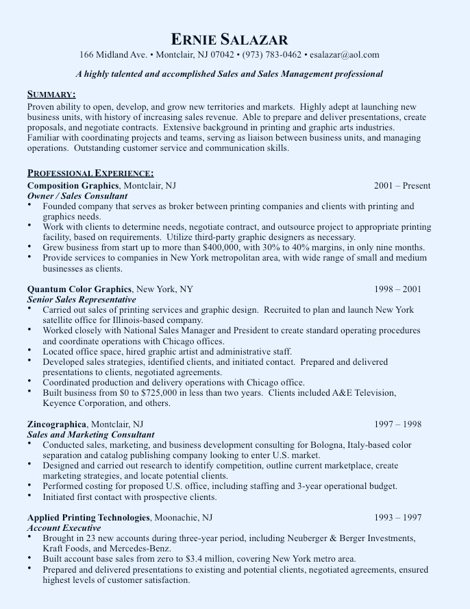 Chief Marketing Officer Resume Sample - sample resume sales and marketing